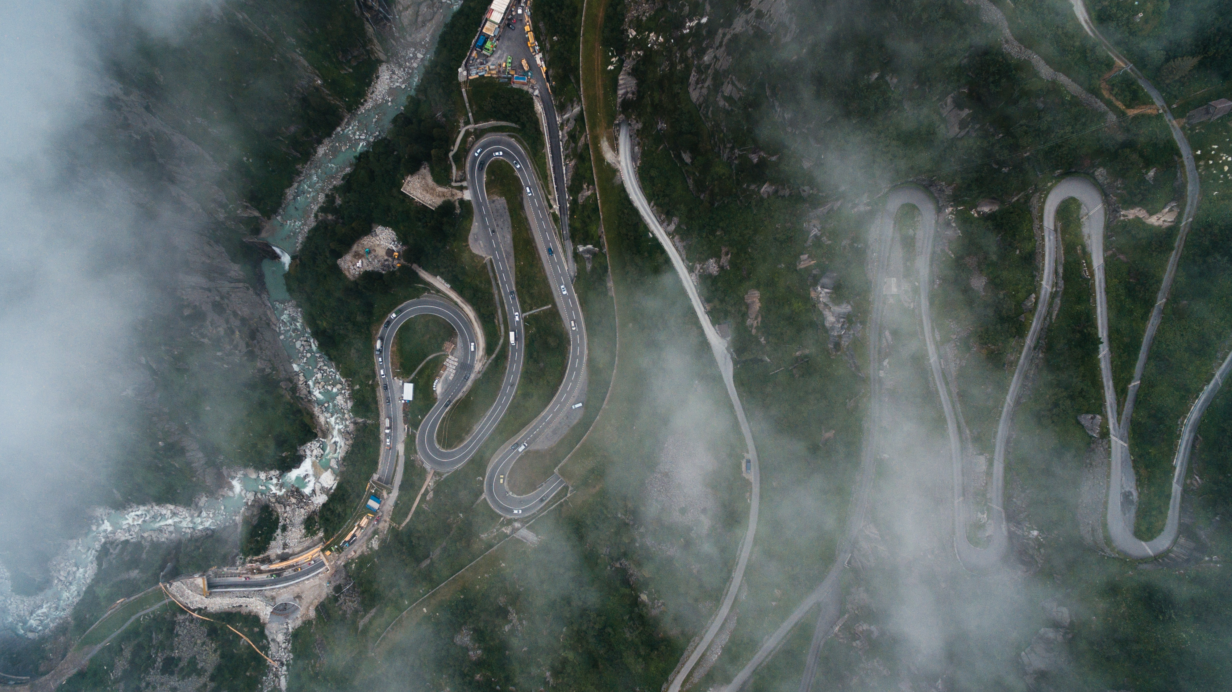 An aerial view of winding roads.