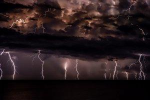 Dark stormy clouds with lightening